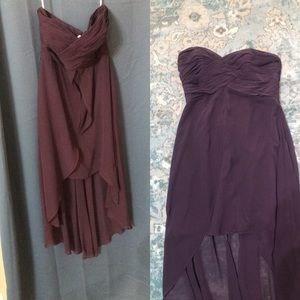 Plum High-Low Formal Gown